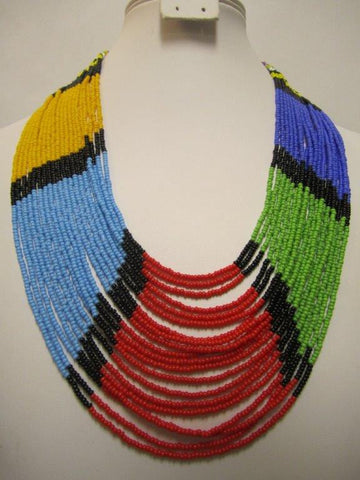 Umbrella Long Necklace 4 Masai Colors