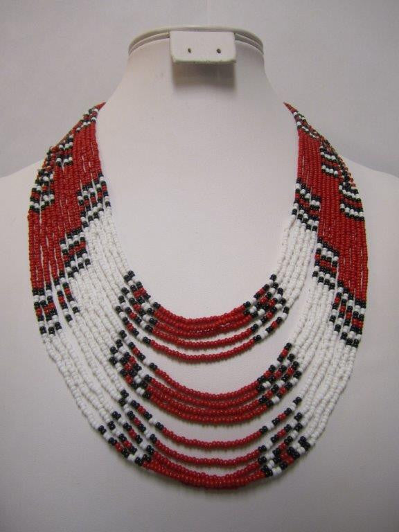 Umbrella Short Necklace Black Red and White