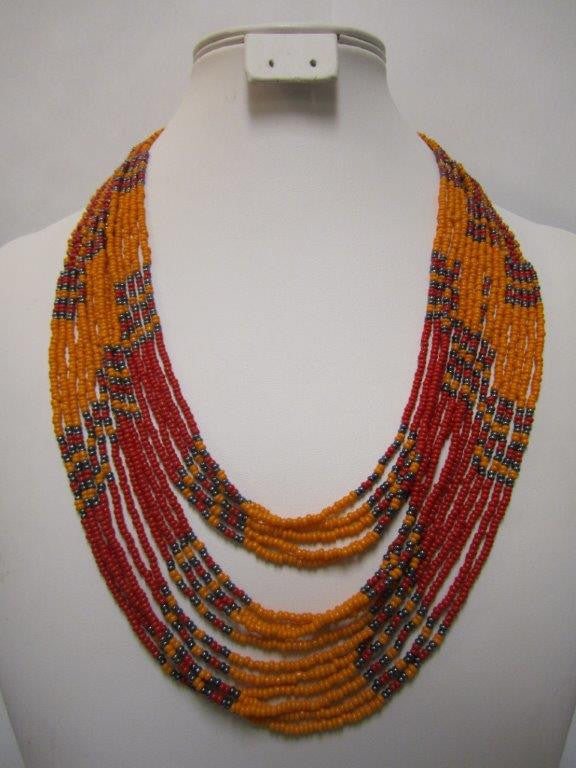 Umbrella Short Necklace Orange Grey and Red