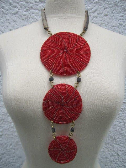 Triple Disc Necklace with Horn and Center Bead Metallic Red