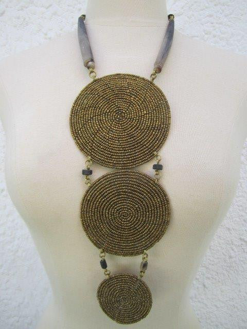 Triple Disc Necklace with Horn Metallic Gold