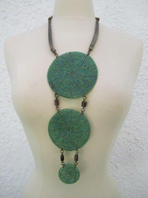 Triple Disc Necklace with horn Metallic Green