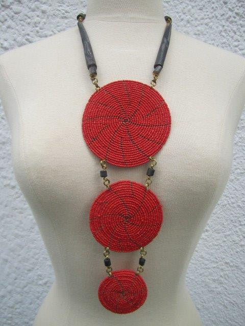 Triple Disc Necklace with Horn Red