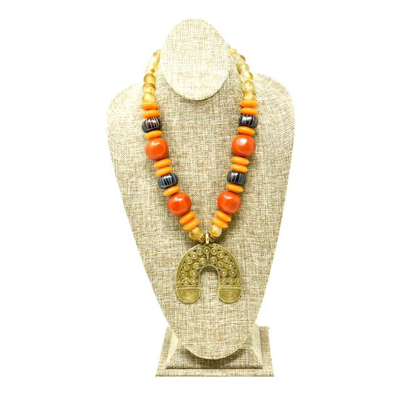 Kamau Horse Shoe Necklace with assorted Beads 02