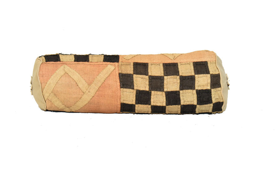 Kuba Cloth Bolster Pillow Cover with insert 01