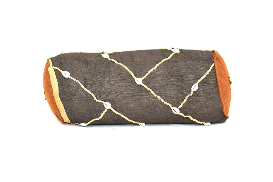 Kuba Cloth Bolster Pillow Cover with insert 02