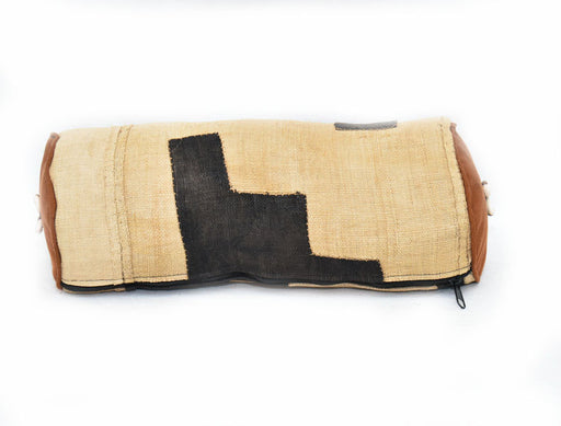 Kuba Cloth Bolster Pillow Cover with insert 03
