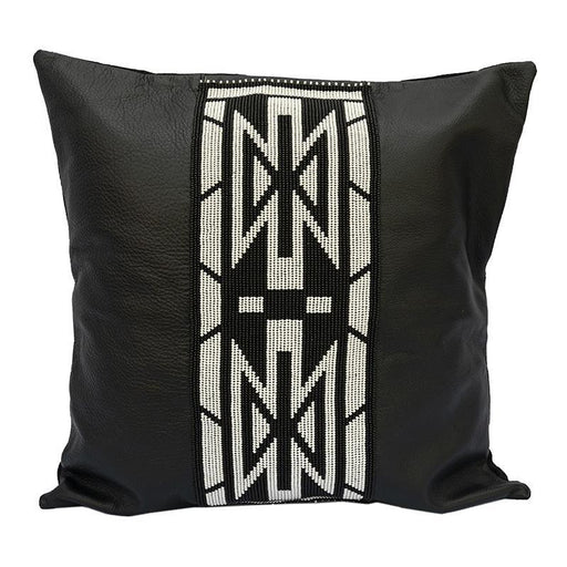 Beaded Leather Pillow Cover 01