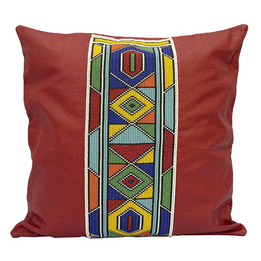 Leather Beaded Pillow Cover 03