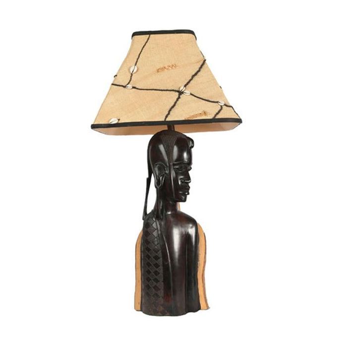 Maasai Male Warrior Lamp with Kuba Shade