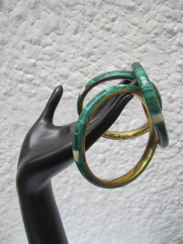 Malachite Bracelets with Brass or Cooper