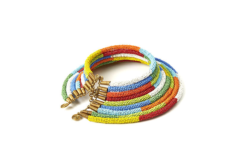 Maruku Beaded Choker Necklace - Multiple Colors