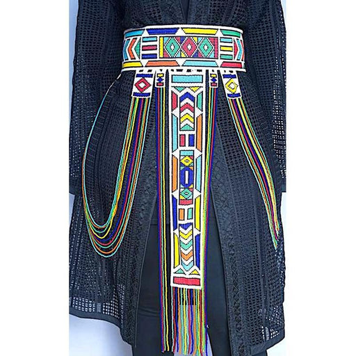 Maua Beaded Leather Belt