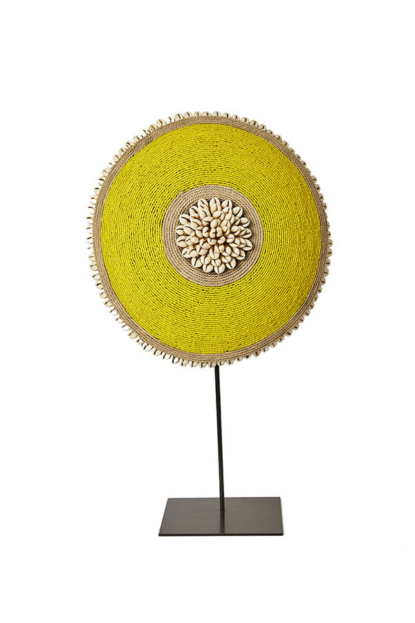 Beaded Cameroon Shield on stand - Yellow