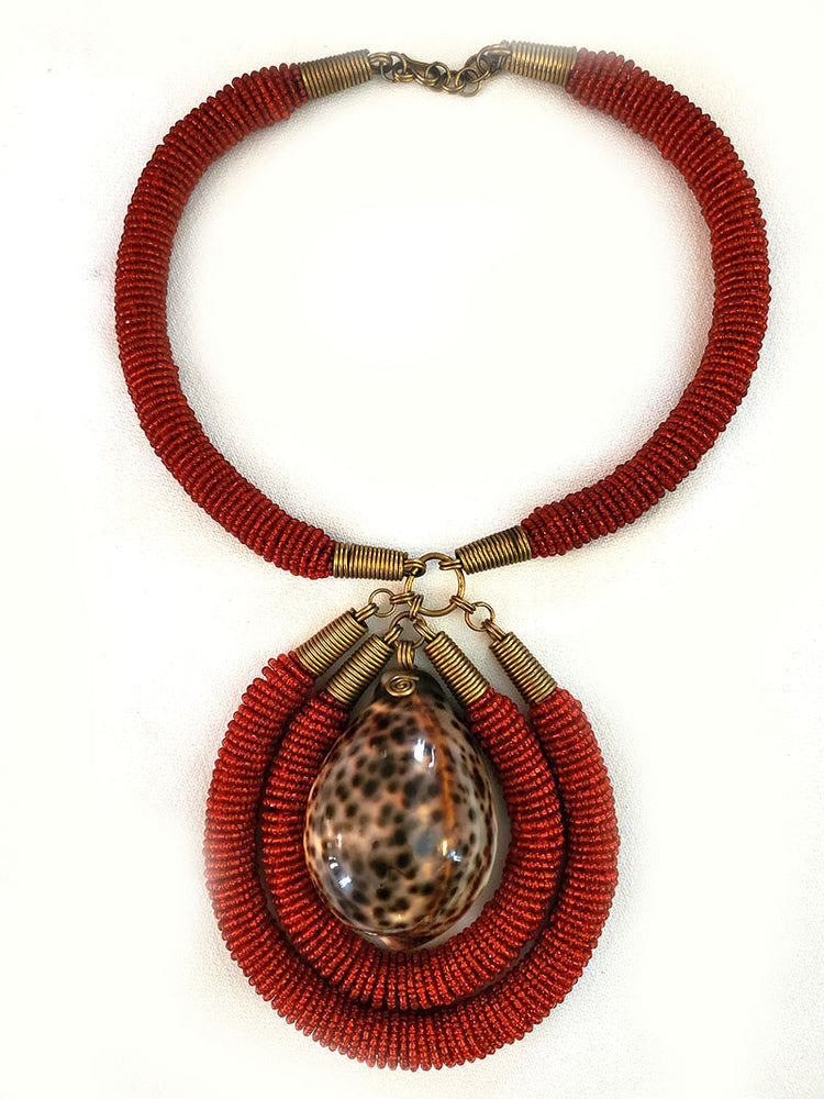 Mtoni Shell Necklace Red