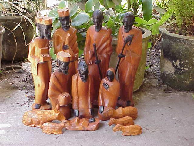 Nativity Scene Ebony and Mahogany Wood
