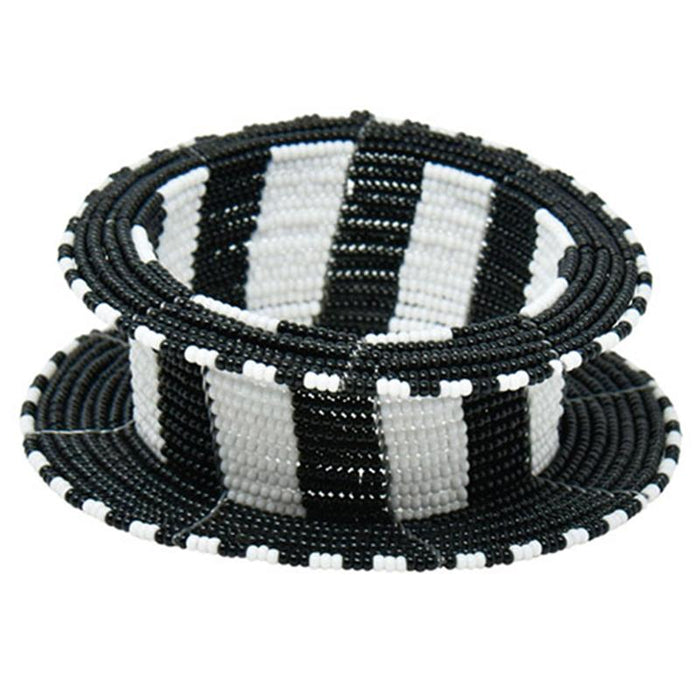 Maasai Ream Beaded Bangle 02 - Black & White
