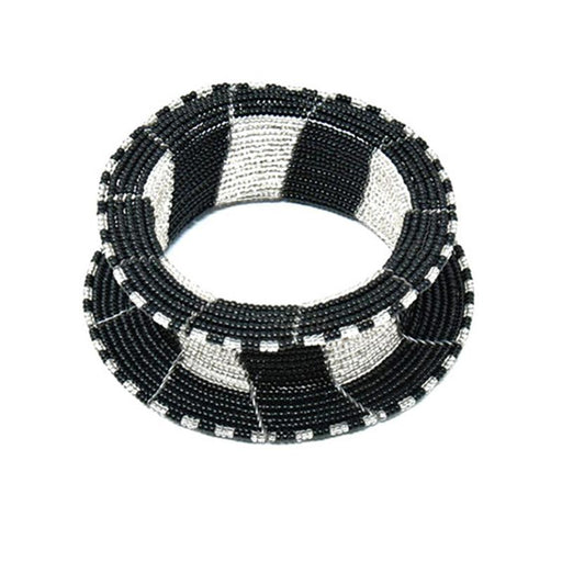 Ream Beaded Bangle 06 - Black & Silver