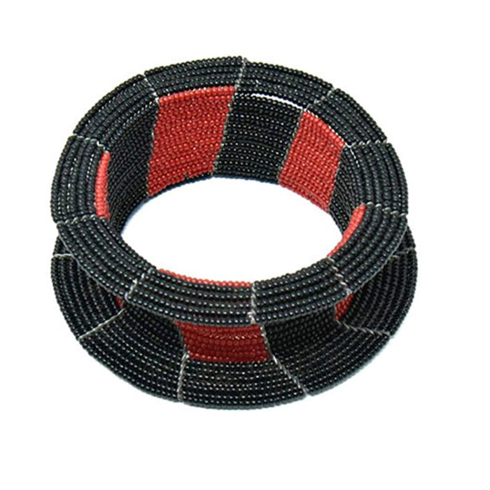 Maasai Ream Beaded Bracelet 09 - Black & Red