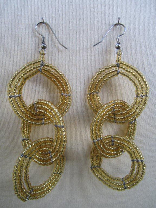 Round Three Tier Earrings Gold