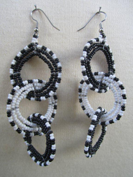 Round Three Tier Interchange Earrings White and Black