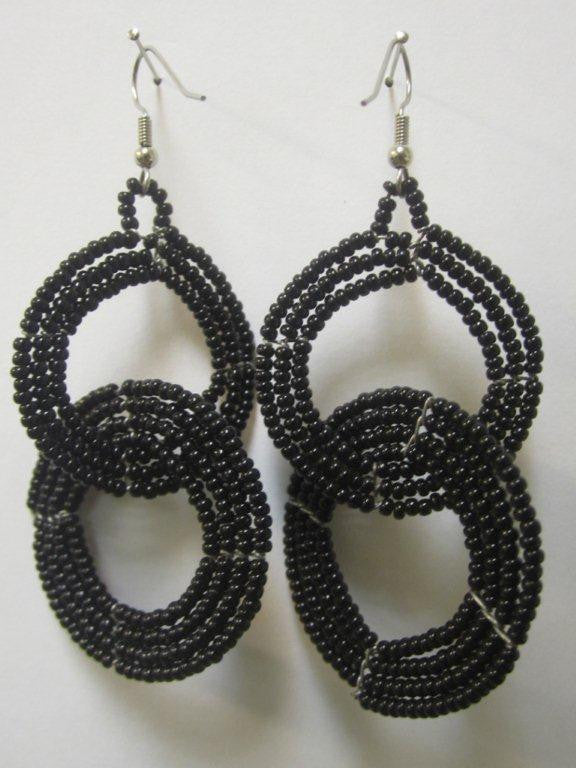 Round Two Tier Earrings Black