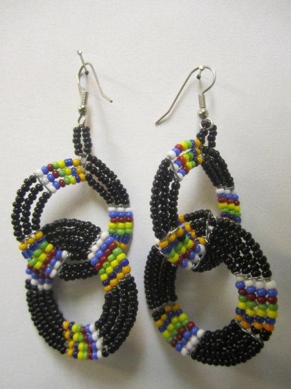 Maasai Round Two Tier Earrings - Black & Charanga