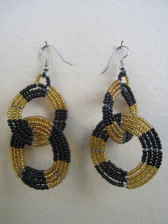 Round Two Tier Earrings Black and Gold