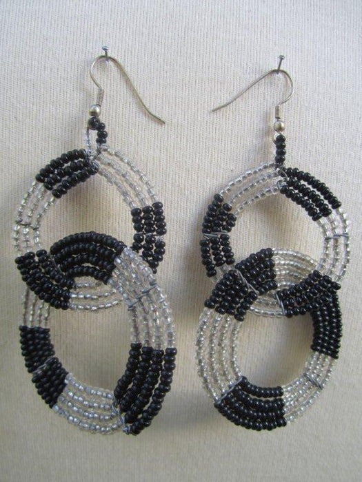 Round Two Tier Earrings Black and  Silver