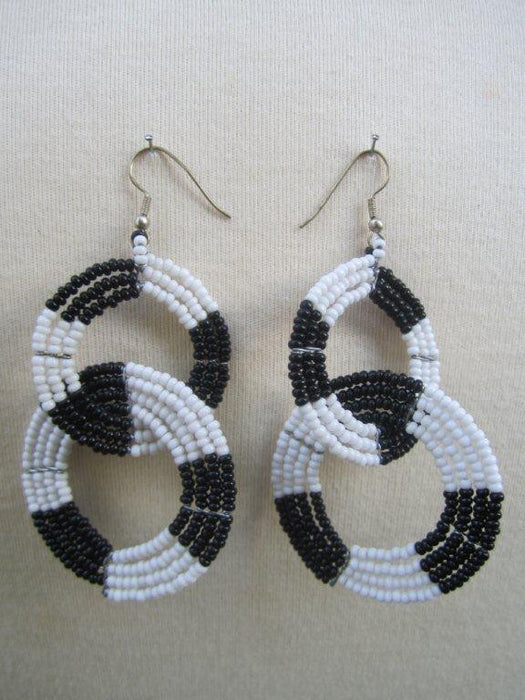 Round Two Tier Earrings Black and  White