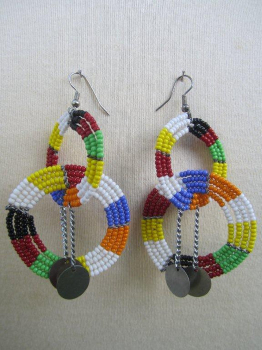 Round Two Tier Earrings Masai Colors