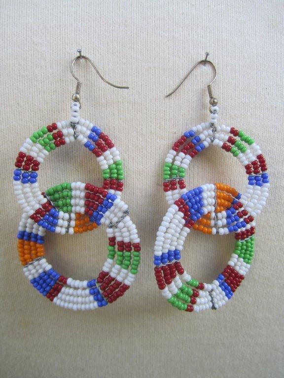 Round Two Tier Earrings Masai Colors Light