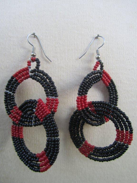 Round Two Tier  Earrings Red and Black