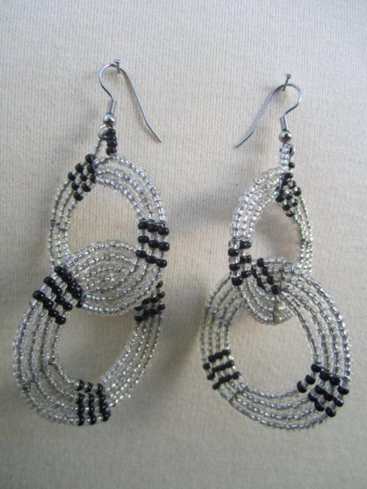 Round Two Tier Interchange Earrings Black and  Silver