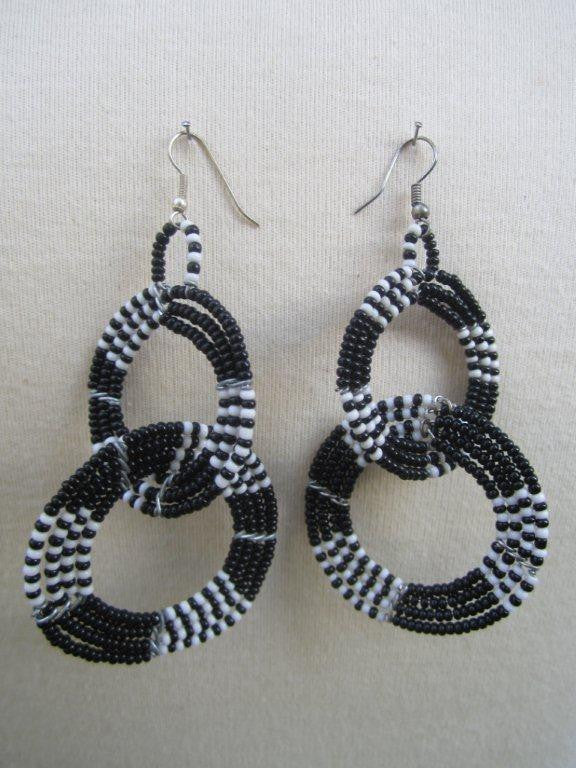 Maasai Round Two Tier Earrings 02 - Black and  White