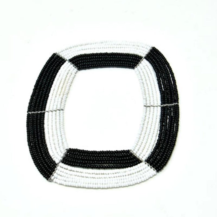 Maasai Square Beaded Bangle 02 - Black & White