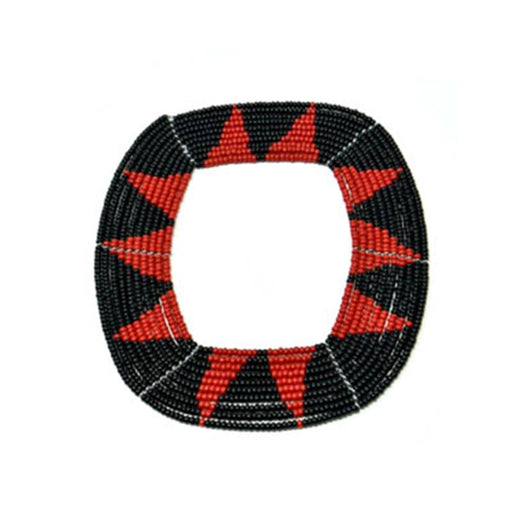Square Beaded Bangle 11 - Black & Red