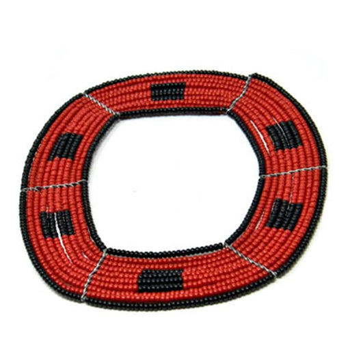 Square Beaded Bangle 12 - Black & Red