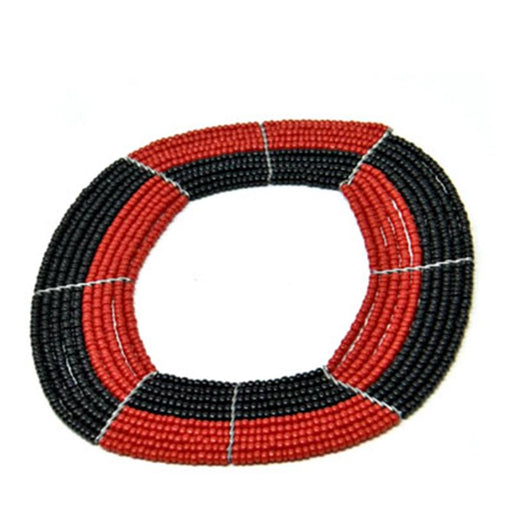 Square Beaded Bangle 13 - Black & Red