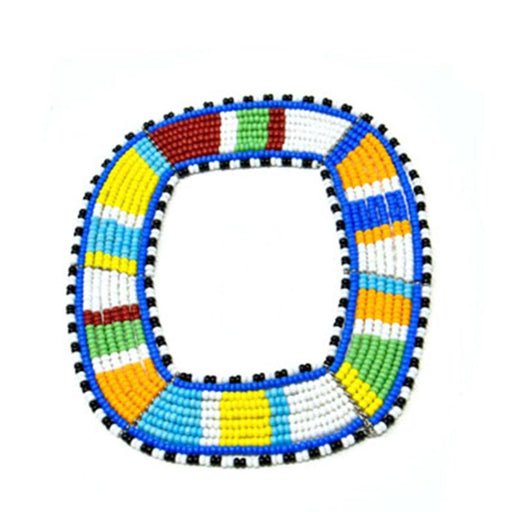Maasai Square Beaded Bangle 14 - Maasai Colors
