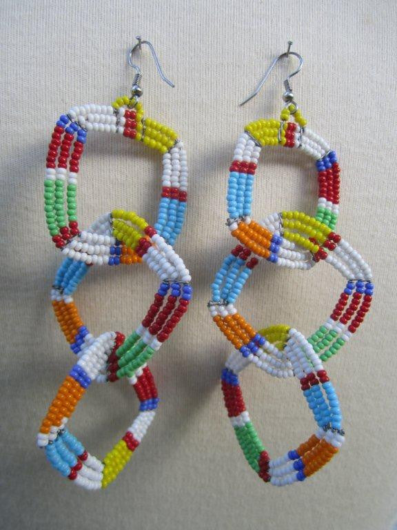 Square Three Tier Earrings Masai colors Light