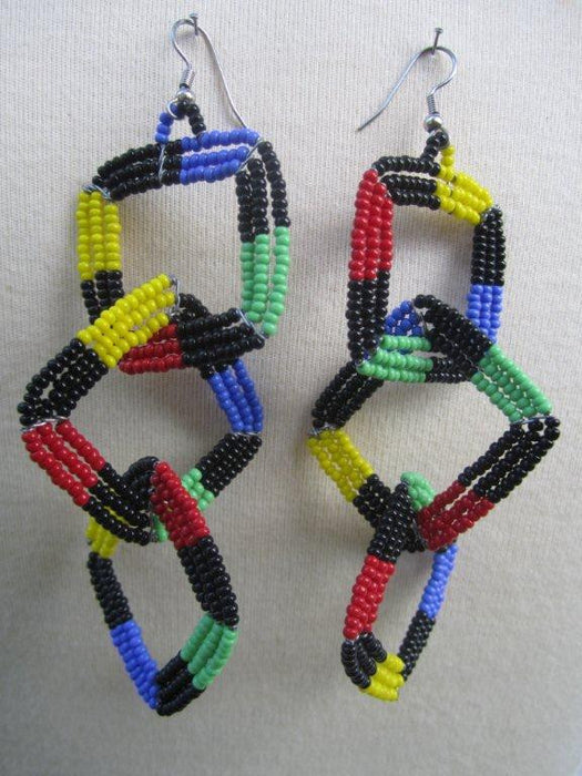 Square Three Tier Earrings  Masai colors Solid