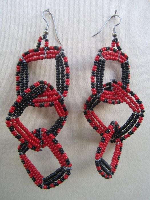 Square Three Tier Interchange Earrings Red and Black