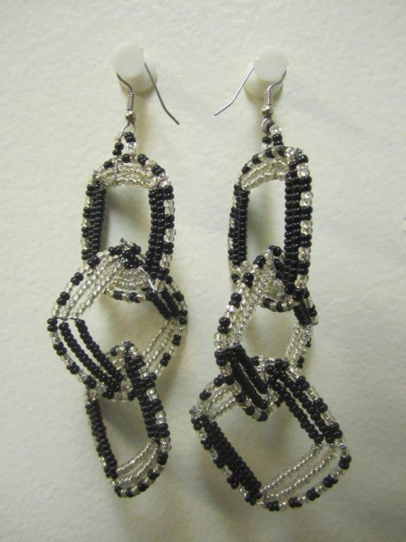 Square Three Tier Interchange Earrings Silver and Black