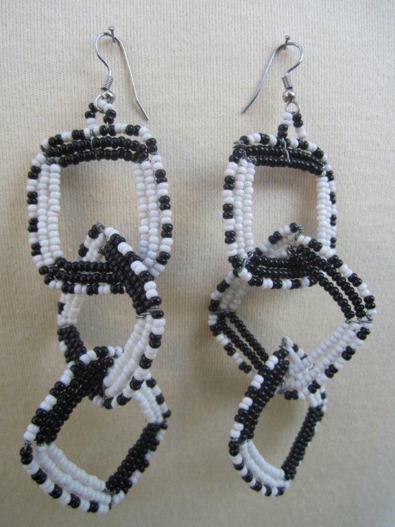 Square Three Tier Interchange Earrings White and Black