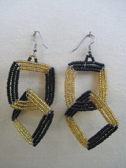 Square Two Tier Earrings Black and Gold $27