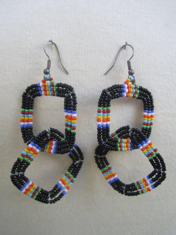 Square Two Tier Earrings Masai Black and Charanga