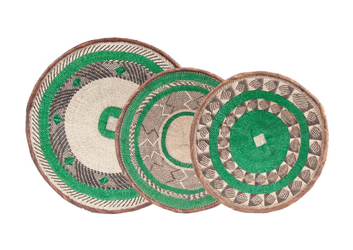 Tonga Painted Baskets, Green - Set of 3