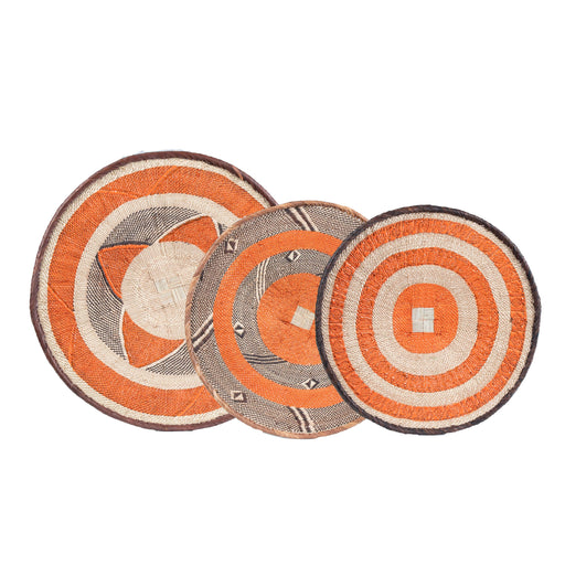 Tonga Painted Baskets, Orange - Set of 3
