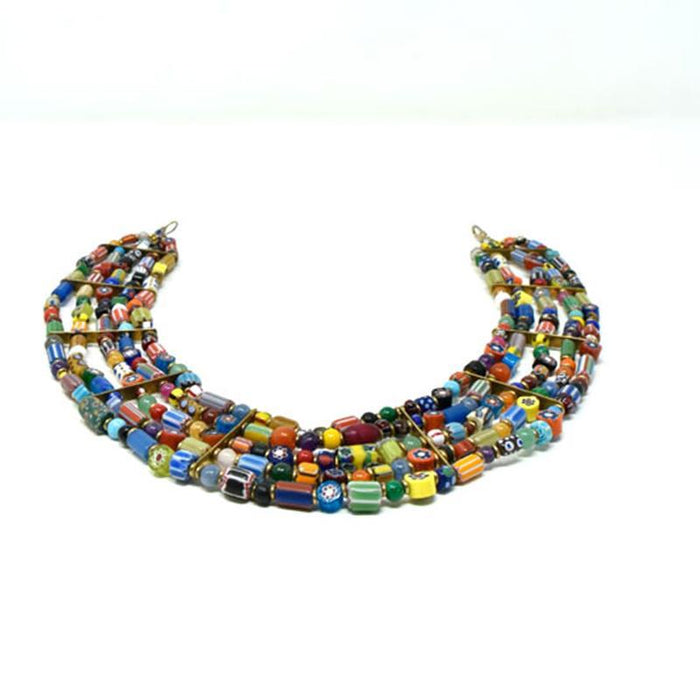 Trade Beads Necklace Five Strand